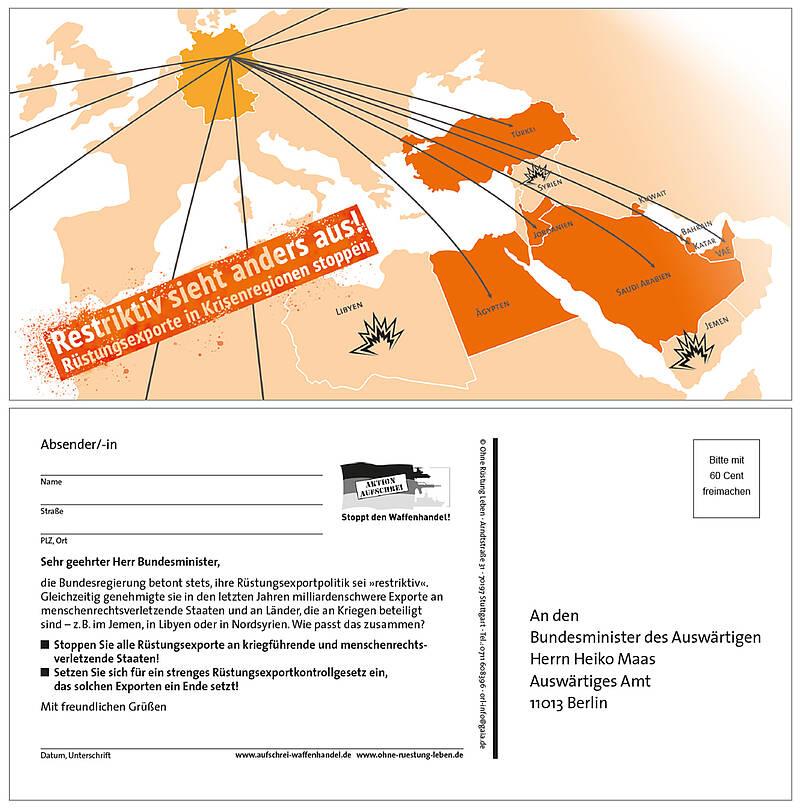 """Aktionspostkarte: """"Restriktiv sieht anders aus! - Rüstungsexporte in Krisenregionen stoppen"""""""