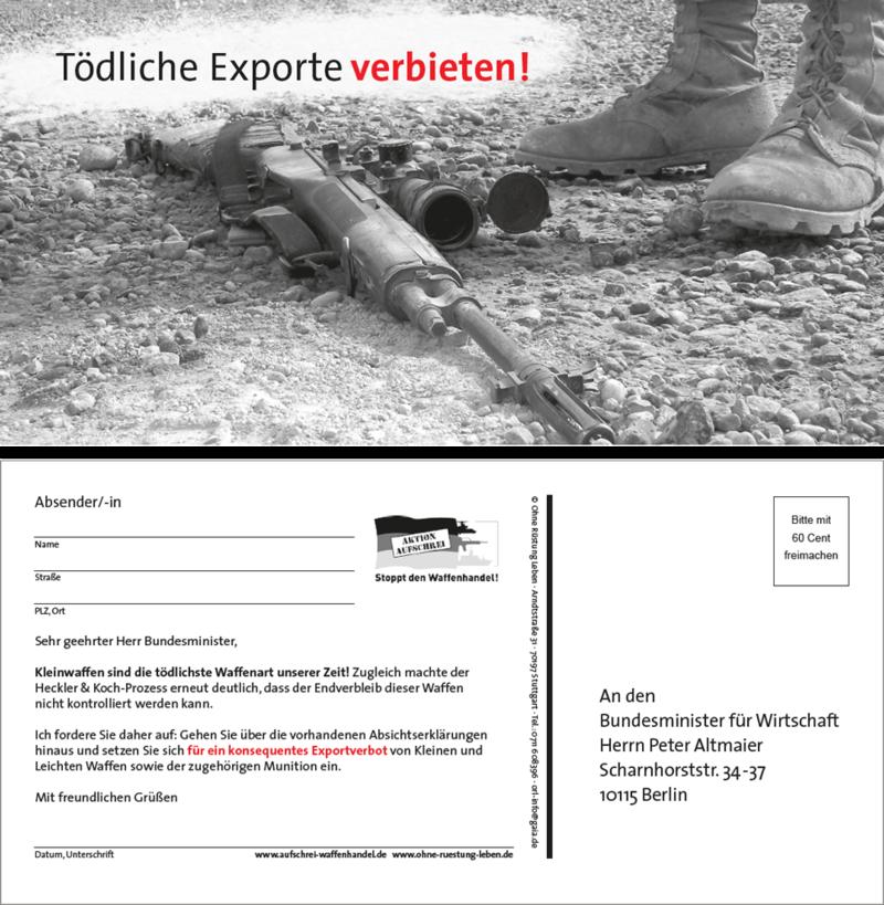 """Aktionspostkarte """"Tödliche Exporte verbieten!"""""""
