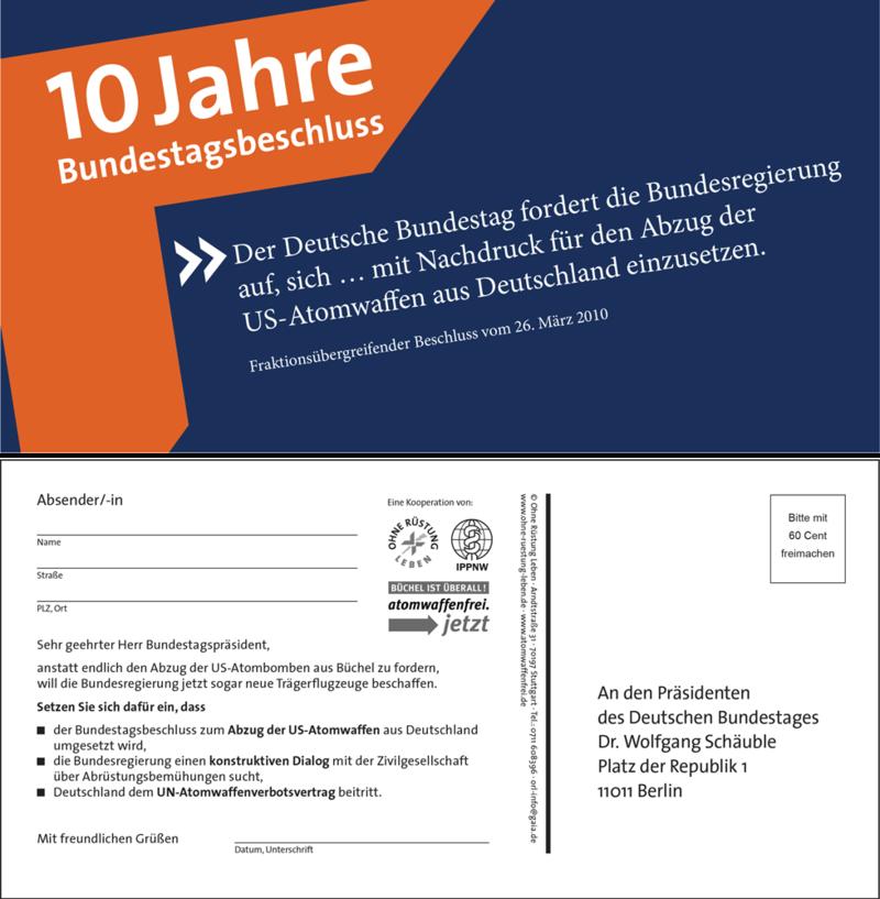 Aktionspostkarte zu 10 Jahren Bundestagsbeschluss zum Abzug der Atomwaffen aus Deutschland