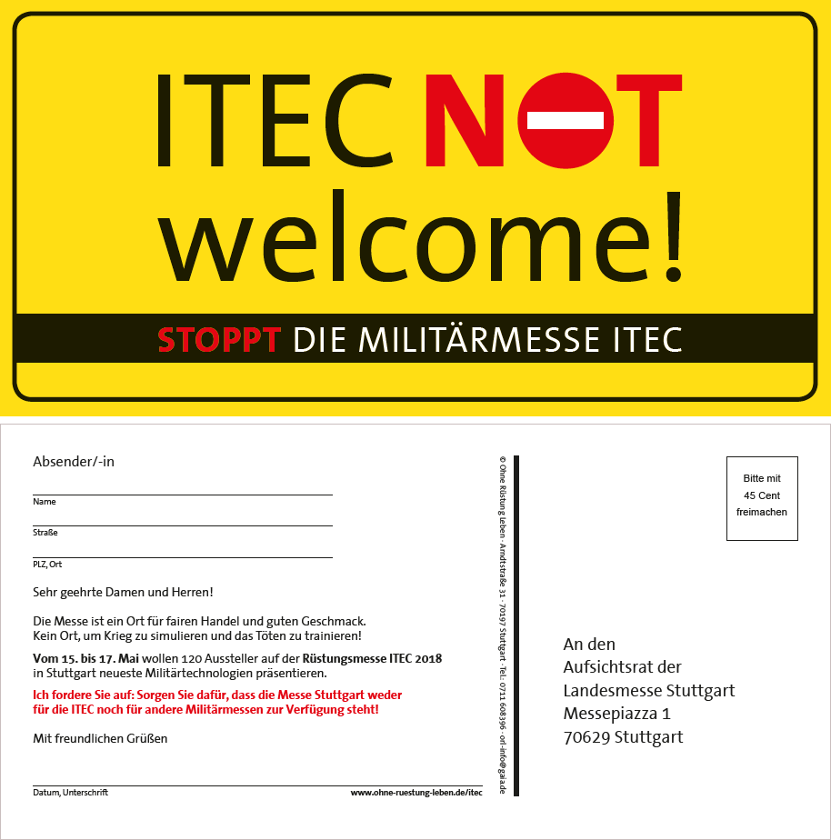 "Aktionspostkarte ""ITEC not welcome"""